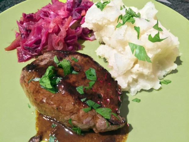 Seared steaks and mashed potatoes with braised red cabbage and apples from Blue Apron. (Pioneer Press: Nancy Ngo)
