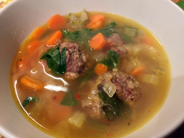 Italian meatball soup with carrots and rainbow Swiss chard from Plated. (Pioneer Press: Nancy Ngo)