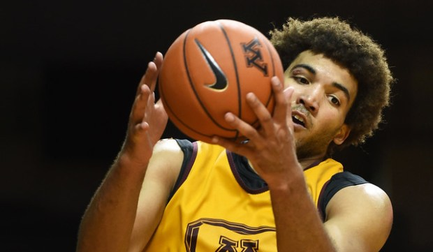 Reggie Lynch pulls down a rebound during the Maroon/Gold scrimmage at Williams Arena in Minneapolis on Oct. 25, 2015. (Pioneer Press: Scott Takushi)