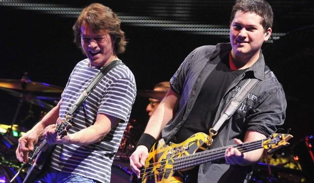Bassist Wolfgang William Van Halen, right, is 25. He plays with his dad, Eddie Van Halen, left, in the band Van Halen. His mom is actress Valerie Bertinelli. (Getty Images: Theo Wargo)