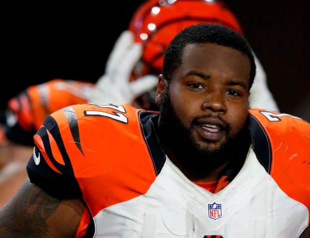 Bengals free-agent right tackle Andre Smith, shown during a game against Arizona on Nov. 22 in Glendale, Ariz., is scheduled to visit the Minnesota Vikings on Monday, March 14. (AP Photo/Rick Scuteri)