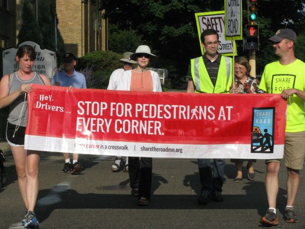 Volunteers at a pedestrian safety campaign in St. Paul in 2015. (Courtesy St. Paul police)