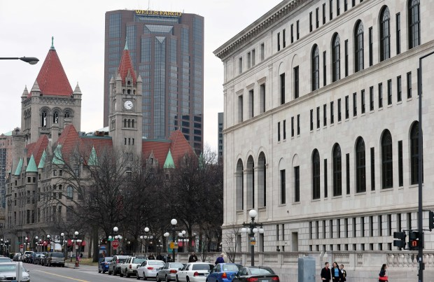 Wells Fargo Place, center, is flanked by the Landmark Center, left, and George Latimer Central Library. (Pioneer Press: Scott Takushi)