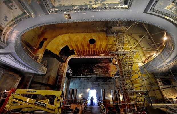 Construction continues (on the main floor looking at the stage) at the Palace Theatre in St. Paul on Thursday, May 5, 2016. (Pioneer Press: Jean Pieri)