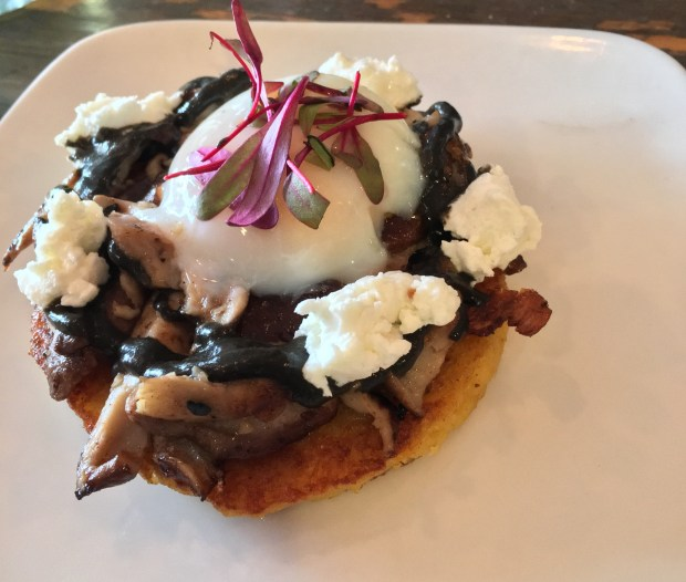 The shiitake cachapa is as tasty as it is gorgeous at Hola Arepa in Minneapolis. (Pioneer Press: Jessica Fleming)