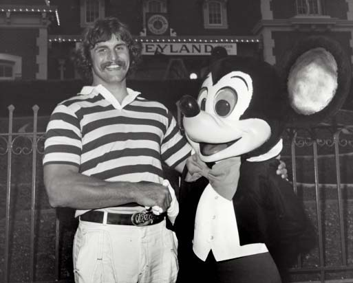 1977's Mr. Irrelevant Jim Kelleher with Mickey Mouse during his celebratory trip to Disneyland. Kelleher, the second Mr. Irrelevant, was the last player taken in the NFL draft by the Minnesota Vikings in 1977. (Courtesy photo)