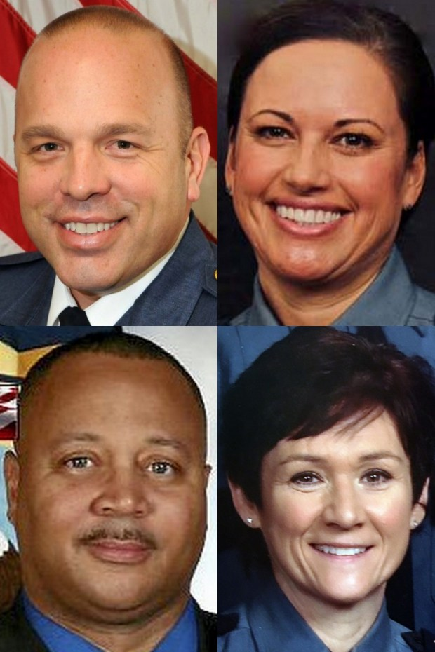 From top left, Assistant Chief Todd Axtell, Senior Cmdr. Tina McNamara; bottom left, Minneapolis police Lt. Eddie Frizell and Cmdr. Colleen Luna. (Courtesy photos)