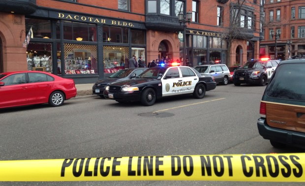 St. Paul police investigate a fatal shooting in office space above W.A. Frost & Co. on Selby Avenue. (Pioneer Press: Jaime DeLage)