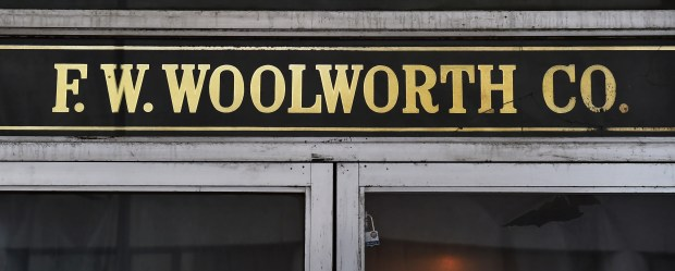 The F.W. Woolworth window plating above the Minnesota Street entrance at the former Woolworth Department Store building at Seventh Place and Minnesota Street in downtown St. Paul on Tuesday, April 26, 2016. (Pioneer Press: John Autey)
