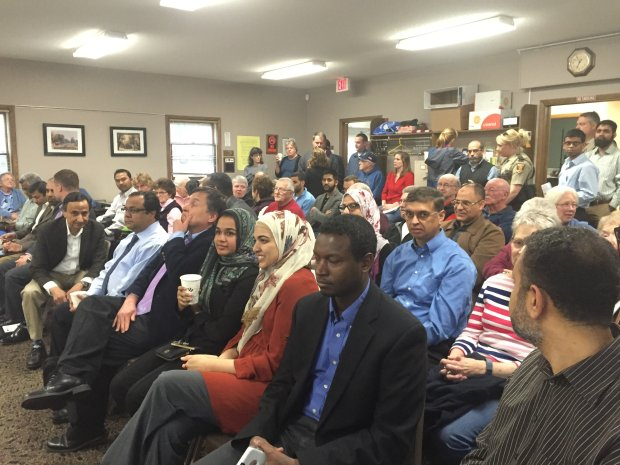 The Afton City Council voted 5-0 Tuesday night to approve plans for a new mosque in the city in front of a standing-room only crowd at Afton City Hall. (Pioneer Press: Mary Divine)
