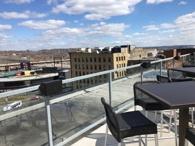 The view from the patio at Ox Cart Ale House in St. Paul's Lowertown. (Pioneer Press: Jess Fleming)