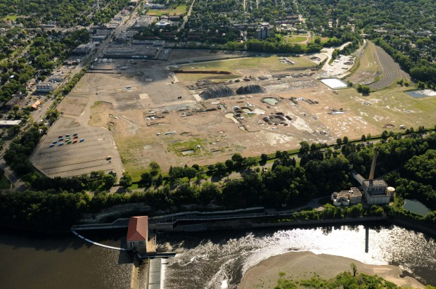 Aerial shot of the former Ford Plant site, looking toward the east, with the Mississippi River and the Ford power plant in lower edge of photo, on Aug. 20, 2015. (Pioneer Press: Scott Takushi)