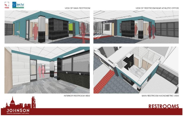 """Architectural drawings depict single-occupancy restrooms planned for Johnson Senior High. Johnson High will be the first SPPS school to convert all of its restrooms to single-occupancy, which the school district says will be """"more inclusive for all people."""" (Courtesy image)"""