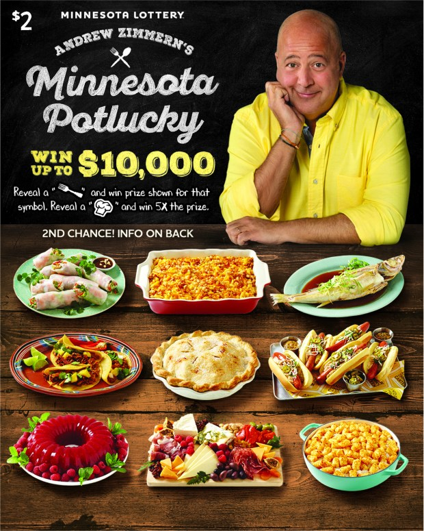 Minnesota Potlucky lottery tickets featuring Andrew Zimmern (Photo Courtesy)