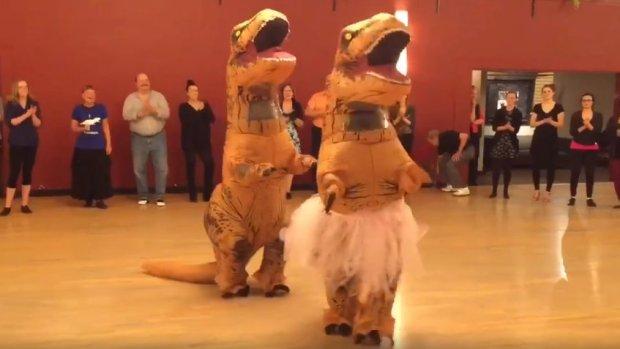 "A scene from TrexTuesdays' ""Swingin' Tango T-rex"""