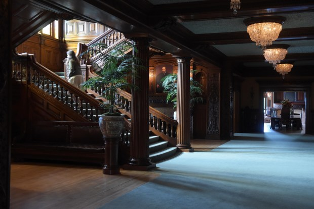 The hallway and Grand Staircase in the James J. Hill house on Summit Avenue, St. Paul, Sunday, May 29, 2016. (Pioneer Press: Scott Takushi)