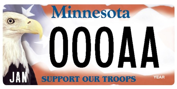 Harriet the eagle, who died Wednesday, May 25, 2016, is featured on the Minnesota Support Our Troops license plate. (Courtesy photo)
