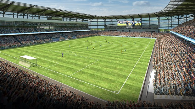 This May 2016 rendering of Minnesota United FC's stadium in St. Paul's Midway neighborhood has a view from the southeast corner of the field. (Courtesy of Minnesota United FC)
