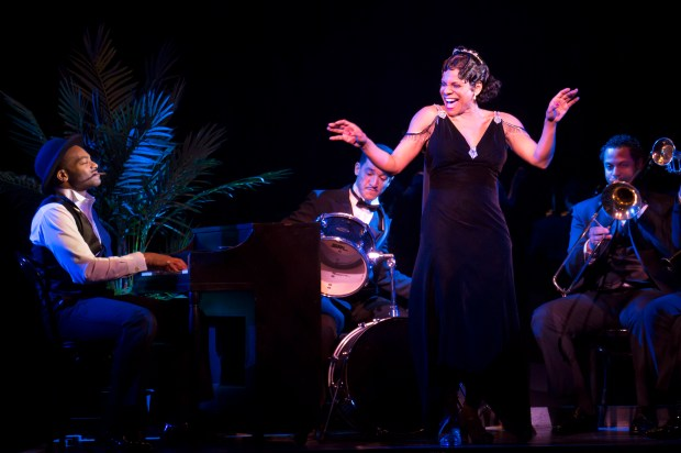 """Brandon Victor Dixon, left, and Audra McDonald during a performance of """"Shuffle Along, Or the Making of the Musical Sensation of 1921 and All That Followed"""" at The Music Box Theatre in New York. (Julieta Cervantes/Philip Rinaldi Publicity via AP)"""