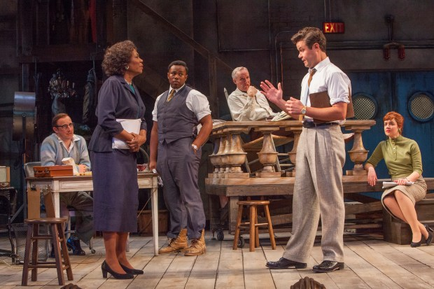 "Kris L. Nelson is Eddie Fenton, left, Margo Moorer is Wiletta Mayer, Marcel Spears is John Nevins, Peter Thomson is Bill O'Wray, John Catron is Al Manners and Chloe Armao is Judy Spears in the Guthrie Theater's production of ""Trouble in Mind."" (Photo by Keri Pickett)"