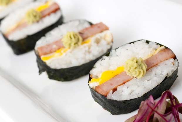 Spam Sushi: Grilled Spam, sushi rice, fried egg and wasabi rolled in nori (dried seaweed). At Sushi Rolls located in the Warner Coliseum, north side. (Courtesy of Minnesota State Fair)