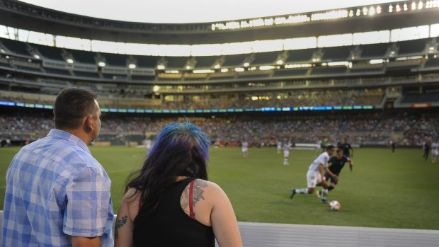 Loons fans have sideline seats to the Minnesota United FC's game against Club Leon at Target Field in Minneapolis on Saturday, June 25, 2016. (Special to the Pioneer Press: Craig Lassig)