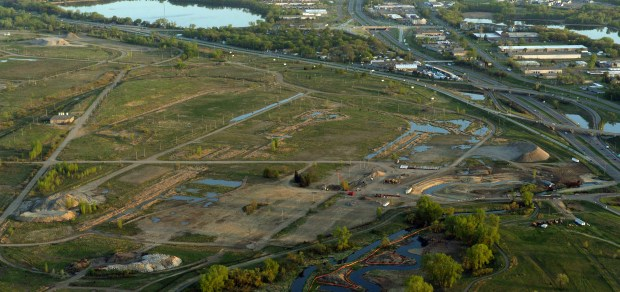 The future Rice Creek Commons -- former Twin Cities Army Ammunition Plant in Arden Hills -- as seen from the air on May 5, 2016. (Pioneer Press: John Autey)