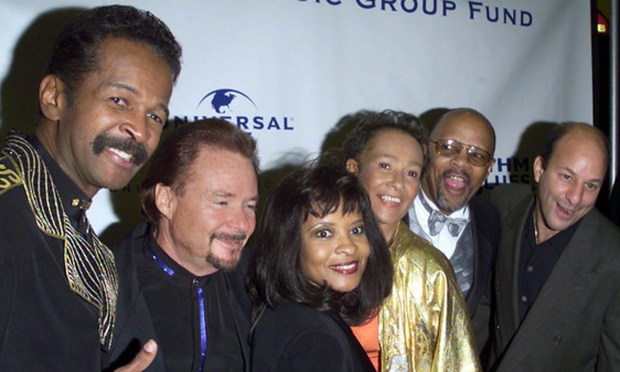 Guitarist Fred Stone, second from right, of Sly and the Family Stone is 69. He's shown in 2001 with the some of the band's original members, minus his brother Sly, of course. His sister, singer and keyboardist Rose Stone, is third from left. Bassist Larry Graham, now a Twin Citian, is at left. (ImageDirect: Gabe Palacio)