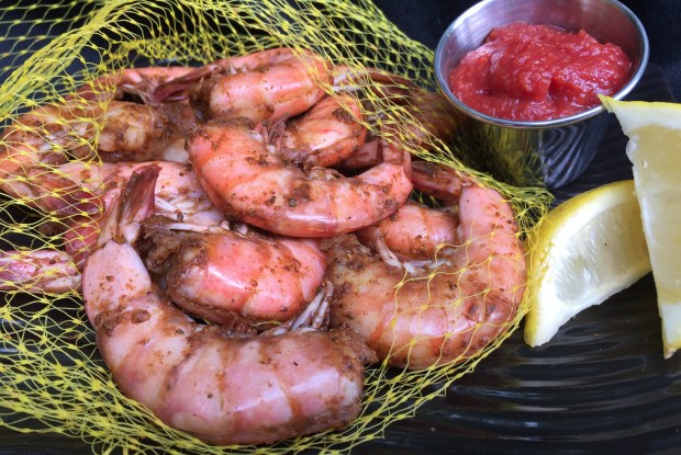 Cajun peel-n-eat shrimp: A half-pound of shrimp seasoned in a blend of Caribbean spices and served cold with a side of cocktail sauce. At Café Caribe on the south side of Carnes Avenue between Liggett and Nelson streets. (Courtesy of Minnesota State Fair)
