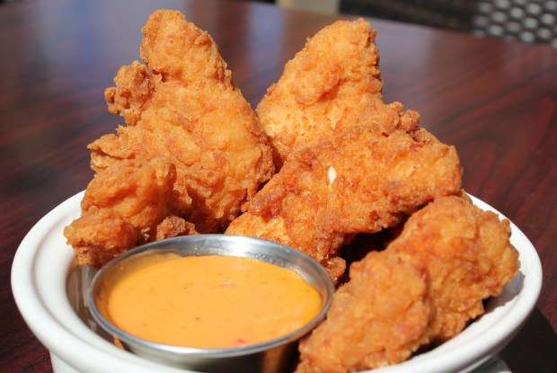 Bang bang fresh chicken tenders: Lightly breaded, fresh, never-frozen fried chicken tenderloins served with Bang Bang sweet and tangy chili sauce. At LuLu's Public House at West End Market, south of Schilling Amphitheater. (Courtesy of Minnesota State Fair)