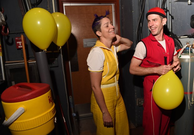 """Christina Gelsone and Seth Bloom prepare for their show """"Airplay"""", a comic circus adventure, part of the Flint Hills International Children's Festival at the Ordway Theater in St. Paul, May 31, 2016. (Pioneer Press: Scott Takushi)"""