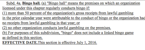 The bingo hall definition now in the tax bill.