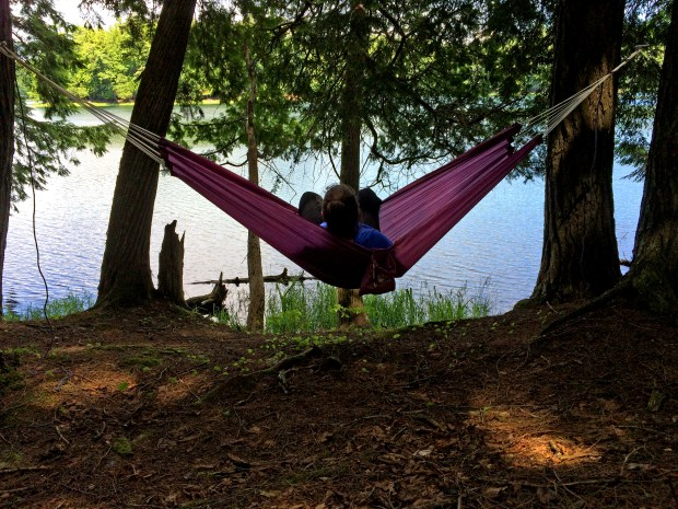 Natasha Orrick of St. Paul relaxes in a hammock on the shore of High Lake in Sylvania Wilderness of Ottawa National Forest in Michigan's Upper Peninsula Monday, July 4, 2016. Orrick is the wife of Pioneer Press outdoors editor Dave Orrick. (Pioneer Press: Dave Orrick)