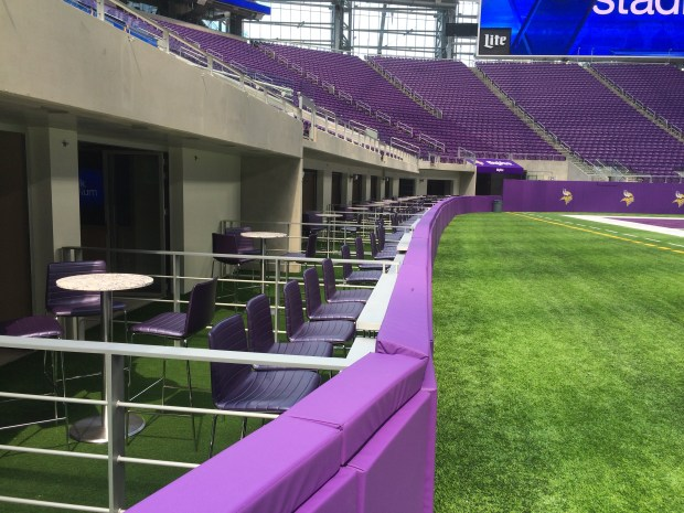 "U.S. Bank Stadium ""Turf Club Suites"" on the home sideline. The 23 units offer seats 25 feet from the playing field, closest in the NFL."