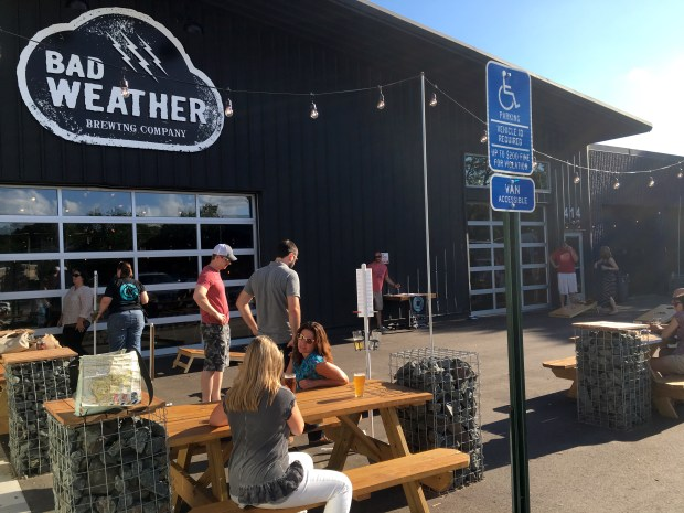 July 20, 2016 photo of the Bad Weather patio features bean bag games front and center. (Pioneer Press: Jessica Fleming)