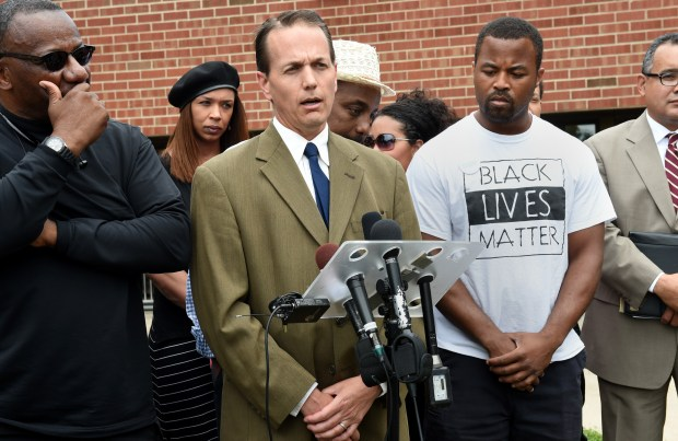 Peter Lindstrom, the mayor of Falcon Heights, speaks during a news conference in front of Falcon Heights City Hall on July 8, 2016. BLM, AALC, NAACP and other community groups gathered to announce emergency task force with city officials and SPPD on police accountability policy and procedural changes. (Pioneer Press: Jean Pieri)