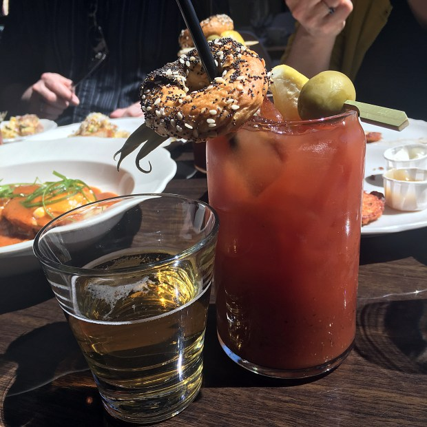The bloody Mary from Saint Dinette features a tiny, delicious everything bagel. (Pioneer Press: Jessica Fleming)