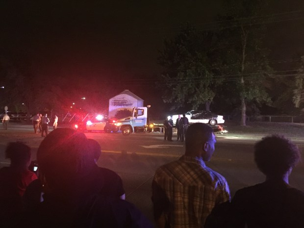 The car that Philando Castile was driving on Wednesday, July 6, 2016, was taken from the scene about 1:30 a.m. Thursday. (Pioneer Press)