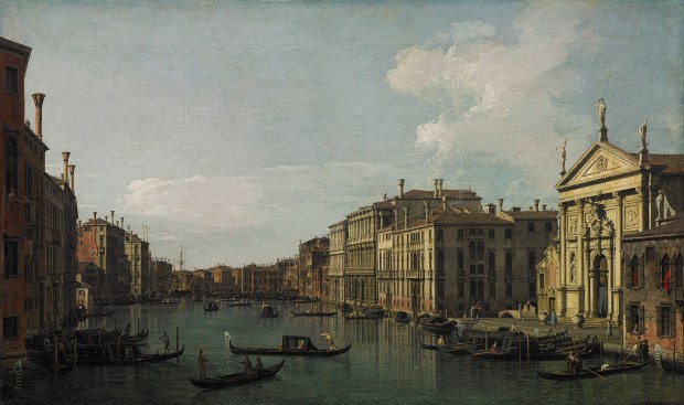 """Canaletto (Giovanni Antonio Canal), """"The Grand Canal, Venice, Looking South-East From San Stae to the Fabbriche Nuove di Rialto"""" (circa 1738) Image: Paul G. Allen Family Collection Oil on canvas, 18 1/2 x 30 5/8 inches"""