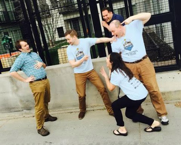 "Improvisers will roam the streets of St. Paul on Aug. 19 to deliver ""improvgrams."" Pictured are Brandon Boat, Jim Robinson, Kenza Hadj-Moussa (crouching), Andrew Haahein (at rear) and Dennis Curley. (Danger Boat photo)"