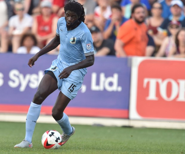 Minnesota United FC forward Ismaila Jome works to move the ball towards the goal in the first half of the a Minnesota United FC Friendly Game against AFC Bournemouth from the English Premier League at the National Sports Center stadium in Blaine on Wednesday, 2016. (Pioneer Press: John Autey)