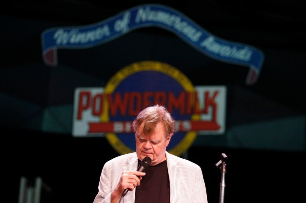 "FILE - In this June 24, 2016, file photo, ""A Prairie Home Companion"" host Garrison Keillor rehearses with the band at Tanglewood in Lenox, Mass. Some 18,000 fans at the Hollywood Bowl will be transported to Lake Wobegon, Minn., Friday night, July 1, as writer and humorist Keillor hosts his final episode of the old-style variety show ""A Prairie Home Companion"" after 42 years on public radio. (Stephanie Zollshan/The Berkshire Eagle via AP) MANDATORY CREDIT"