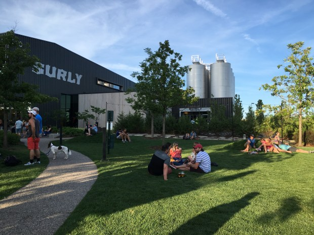 July 19, 2016 photo of Surly Brewing Company has a park-like beer garden that stretches over more than an acre with sculptures and grass and bean bag games. (Pioneer Press: Jessica Fleming)