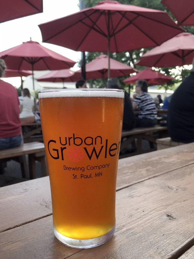 July 19, 2016 photo of American Wheat beer from Urban Growler, pictured on its patio. (Pioneer Press: Jessica Fleming)