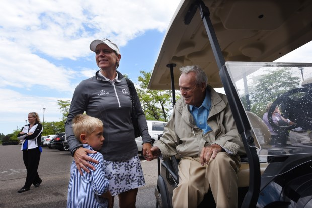 Golf great Annika Sorenstam and her son, Will, 5, greet golf icon Arnold Palmer outside the clubhouse of Royal Golf Club in Lake Elmo, Minn., Thursday, Aug. 4, 2016. Palmer died at age 87 Sunday, Sept. 25, 2016. Scheduled to open as soon as June 2017, the former Tartan Park Golf Course is being redesigned by the firms of Palmer and Sorenstam. Sorenstam was uninjured after the car she was in was rear-ended earlier in the day in the Twin Cities. (Pioneer Press: Dave Orrick)