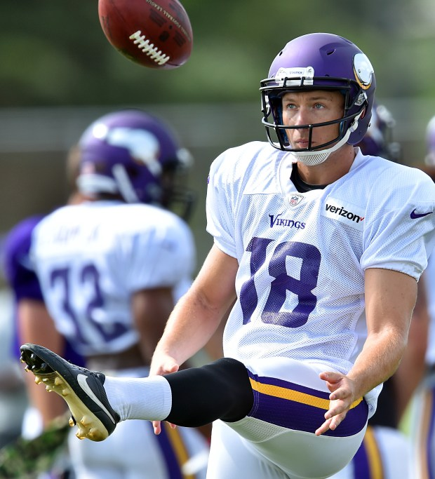Minnesota Vikings punter Jeff Locke practices punting during the afternoon practice on the third day of the Minnesota Vikings training camp at Minnesota State University in Mankato on Sunday, July 31, 2016. (Pioneer Press: John Autey)
