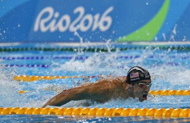 United States' Michael Phelps competes in the men's 4 x 100-meter medley relay final during the swimming competitions at the 2016 Summer Olympics, Saturday, Aug. 13, 2016, in Rio de Janeiro, Brazil. (AP Photo/Lee Jin-man)