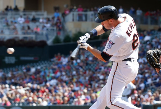 Minnesota Twins' Max Kepler hits a two-run double off Detroit Tigers pitcher Justin Wilson in the eighth inning of a baseball game Thursday, Aug. 25, 2016, in Minneapolis. The Tigers won 8-5, sweeping the three-game series. (AP Photo/Jim Mone)