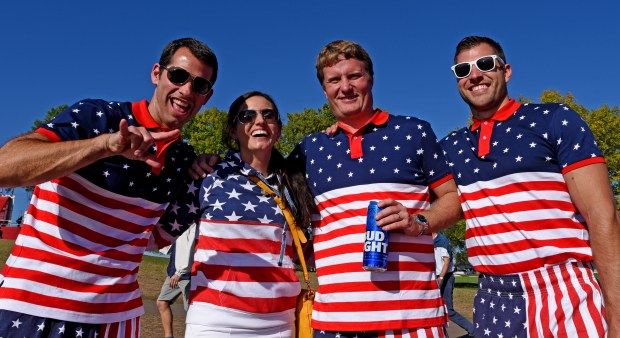 Ryder Cup spectators, from left, Steve Marien of Woodbury, Minn., Jamie Boney and Ryan Boney of Milwaukee, and Kyle johnson of Oconomowoc, is., pose between holes at Hazeltine National Golf Club in Chaska, Minn., Friday, Sept. 30, 2016. (Pioneer Press: Dave Orrick)