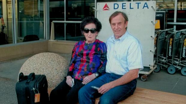 """World traveler Margaret """"Marguerite"""" Rheinberger and her son, John, pose outside Minneapolis-St. Paul International Airport after a trip to Alaska in May 2015. Marguerite Rheinberger died Sept. 13 at her house in Stillwater from complications related to pneumonia. She was 95. (Courtesy of Rheinberger family)"""
